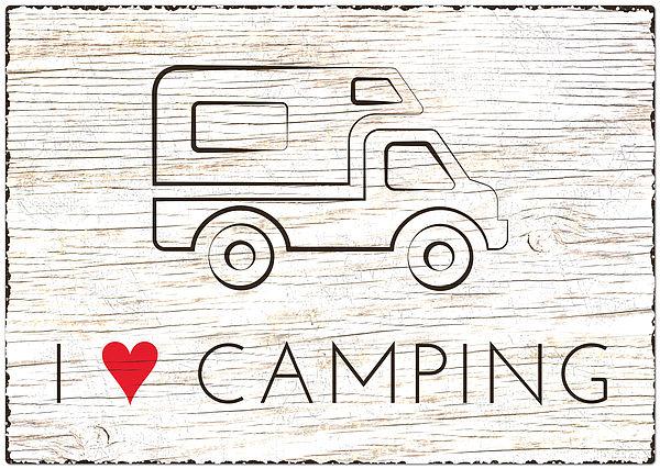 Blechschild Wohnmobil Größe A4 - I love Camping