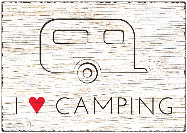 Blechschild Wohnwagen Größe A4 - I love Camping