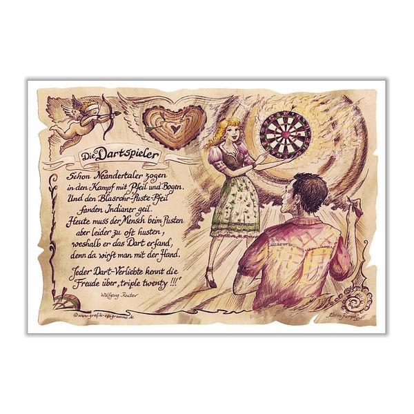 Sportbild Dartspieler auf Antikpapier im A4-Format