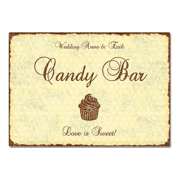Hochzeitsdeko Schild Candy Bar - Format A3 gelb