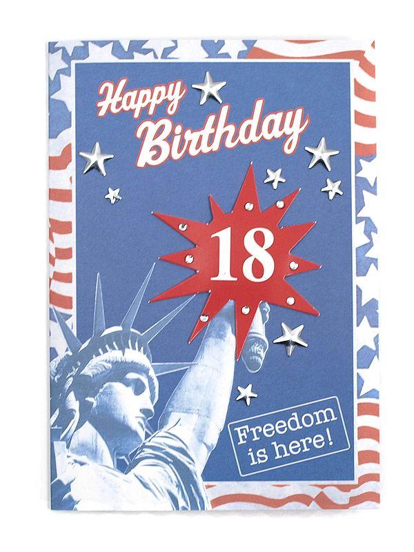 Geburtstagskarte zum 18 Geburtstag mit Briefumschlag
