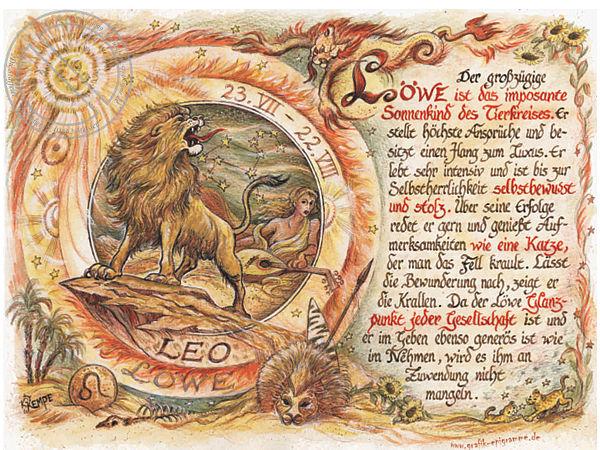 Sternbild Lwe auf Antikpapier im A4Format  Online