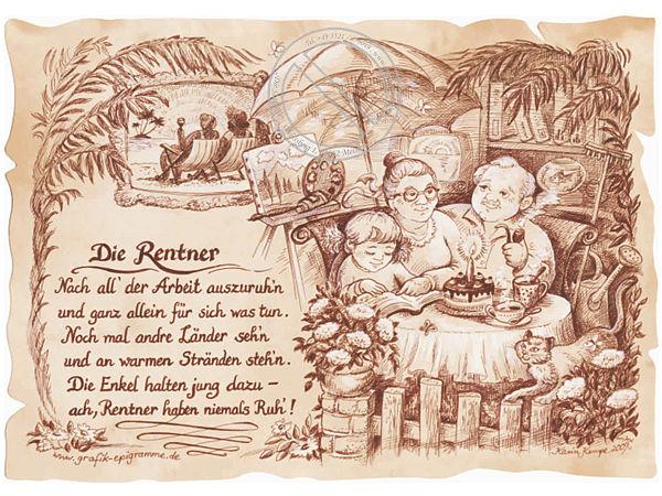 Zunftbild Rentner auf Antikpapier im A4Format  Online