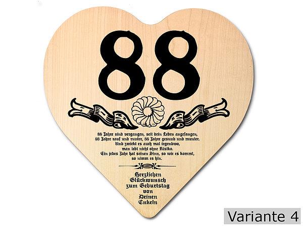 Geschenk zum 88 Geburtstag Herz Holzschild mit