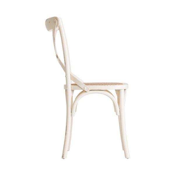 22156 Silla vintage cruceta UELZEN madera blanco roto y