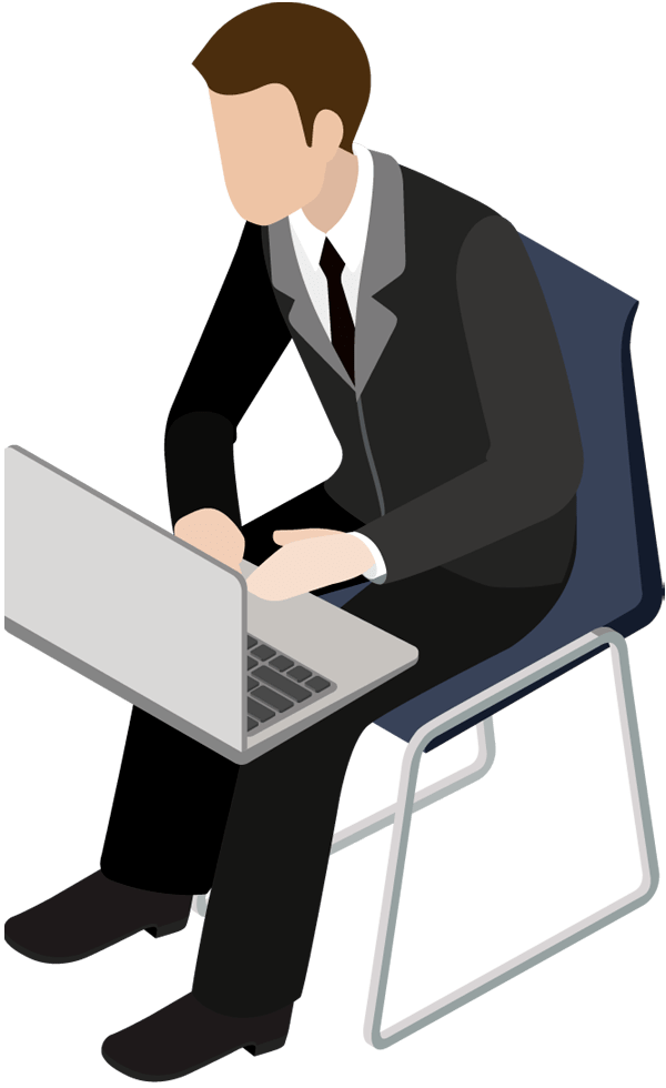 Young businessman sitting in chair with laptop  Free