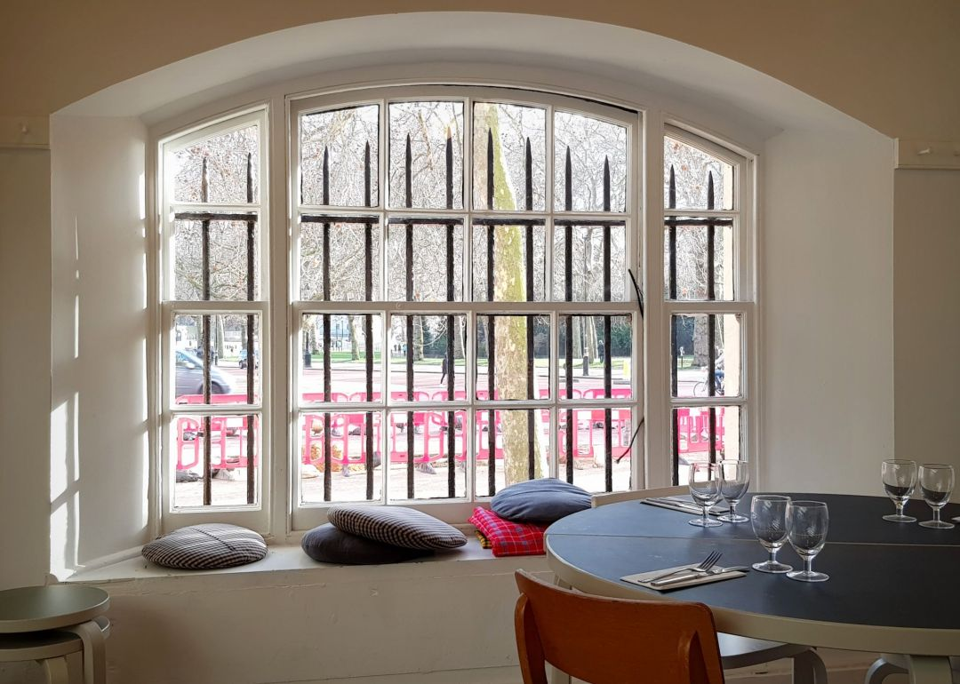 Rochelle Canteen at the Institute of Contemporary Arts (ICA) - windows majestically overlook St James's Park