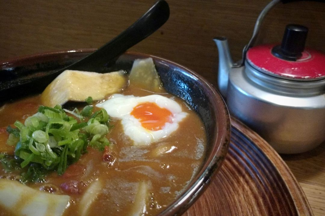 Curry udon and poached egg - a unique twist on breakfast