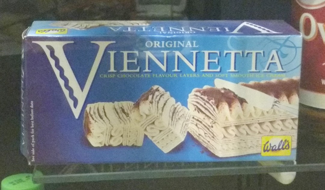 The Viennetta in its original 1980s packaging - this ice-cream dessert was the height of sophistication in that decade.
