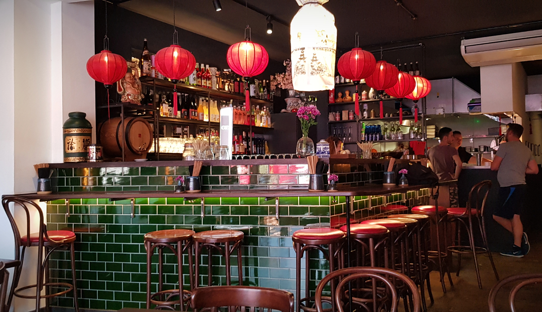 Tooting's Daddy Bao has a glorious green-tiled bar decorated with red lanterns.