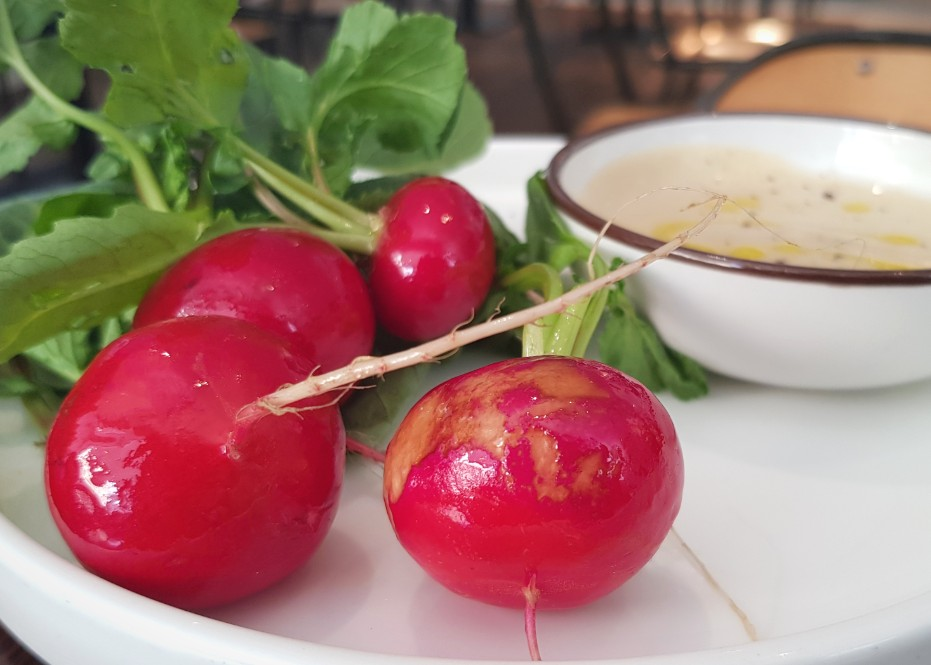 A simple dish at Clipstone of radishes served up with anchovy dip
