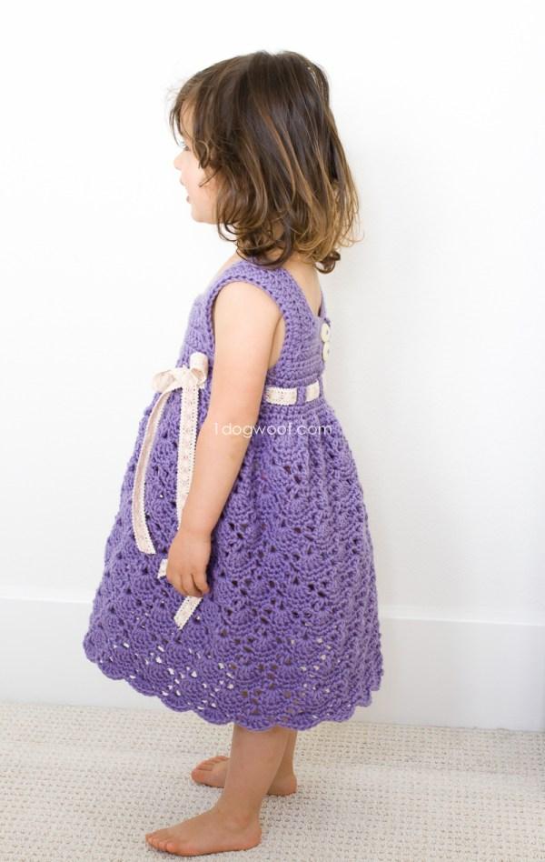 Crochet Purple Princess Dress - Dog Woof