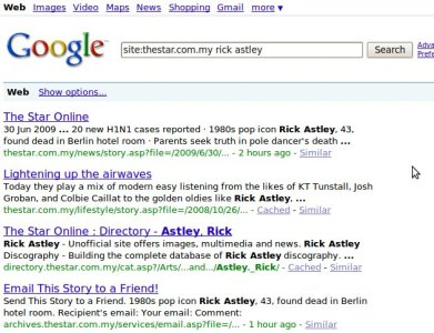 Google left-overs of The Star embarressing moment.