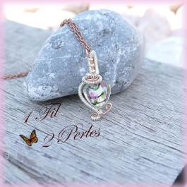 Pendentif Coeur Perle Rose Wire Wrapping