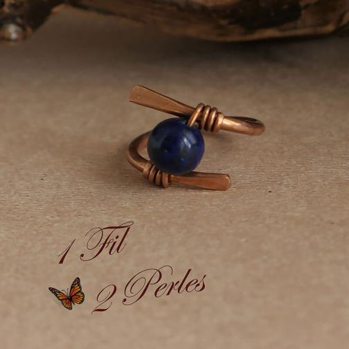 Bague Cuivre Lapis Lazulli Wire Wrapping