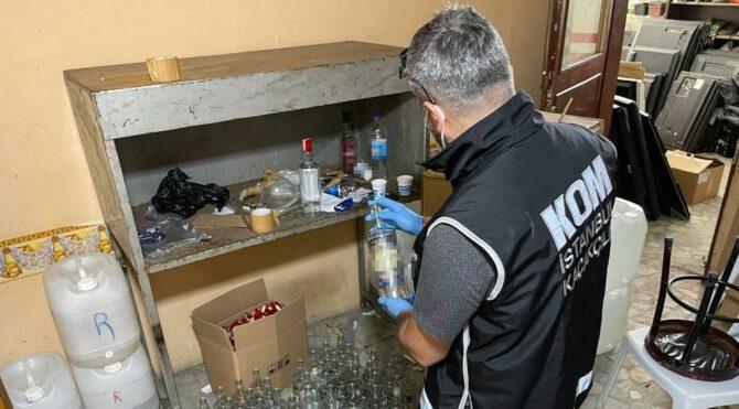 Başakşehir'de 2 ton 162 litre sahte içki ele geçirildi