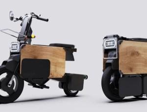 Katlandığında masa altına sığan elektrikli motosiklet