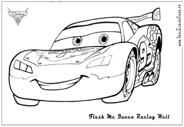 Coloriages cars 288 - Flash mc Queen Racing Cars 288 - Coloriages les