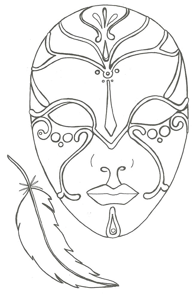coloriage pour adulte anti-stress, le masque et la plume à