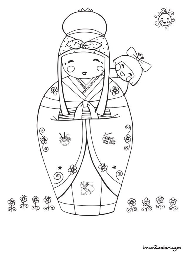 coloriage de poupée japonaise kokeshi numero 20 à imprimer