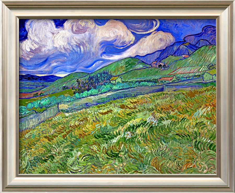 Wheatfield and Mountains - Vincent Van Gogh Paintings - Click Image to Close