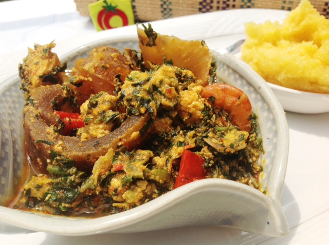 Image result for egusi soup with vegetable and fresh fish