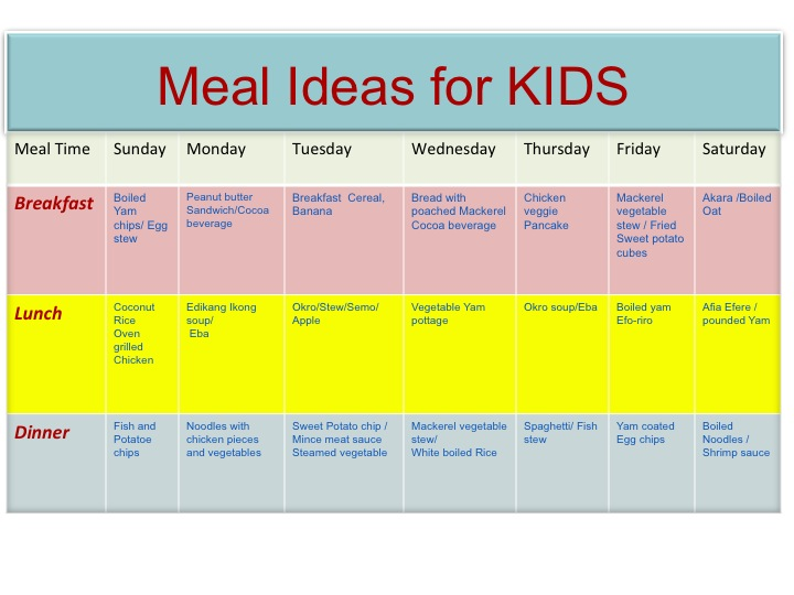 Healthy Food Time Table For Family