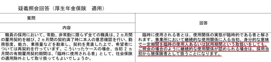 疑義照会回答(厚生年金保険適用)