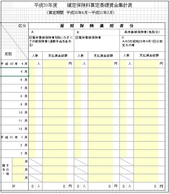 平成30年度 確定保険料算定基礎賃金集計表(雇用保険用)