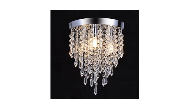 3 Lights Crystal Flushmount Chandelier, Crystal Ceiling ...