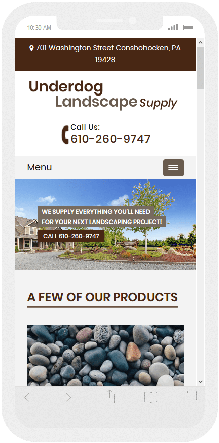 Mobile website design for Landscapers