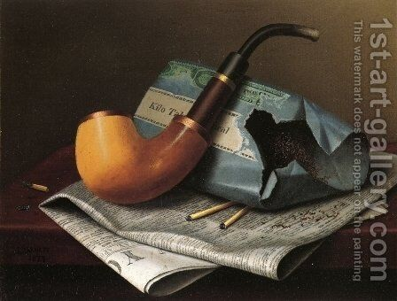 Still Life with Pipe, Newspaper and Tobacco Pouch by William Michael Harnett - Reproduction Oil Painting