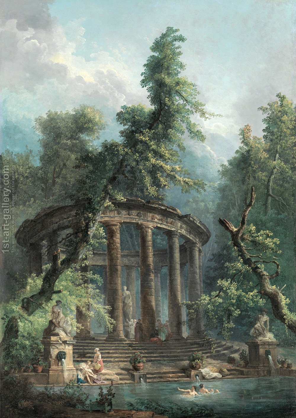 Bathing Pool Hubert Robert Reproduction 1st Art
