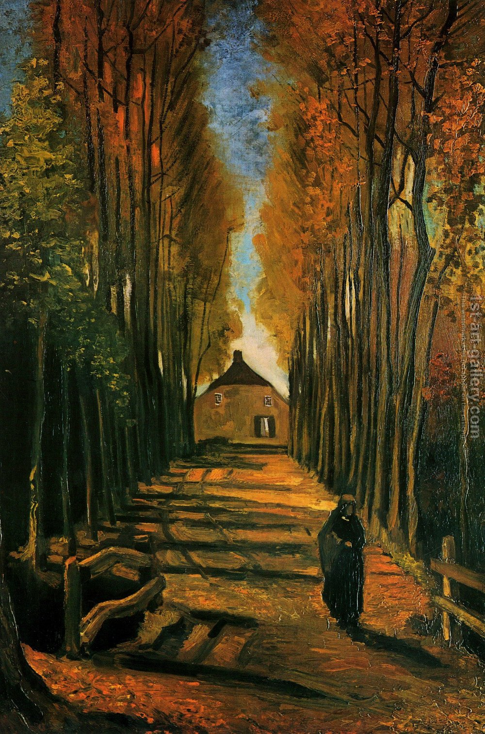 Avenue Of Poplars In Autumn Vincent Van Gogh Reproduction