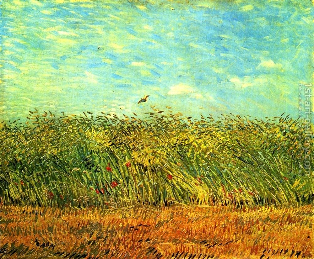 Wheat Field With Lark Painting Vincent Van Gogh