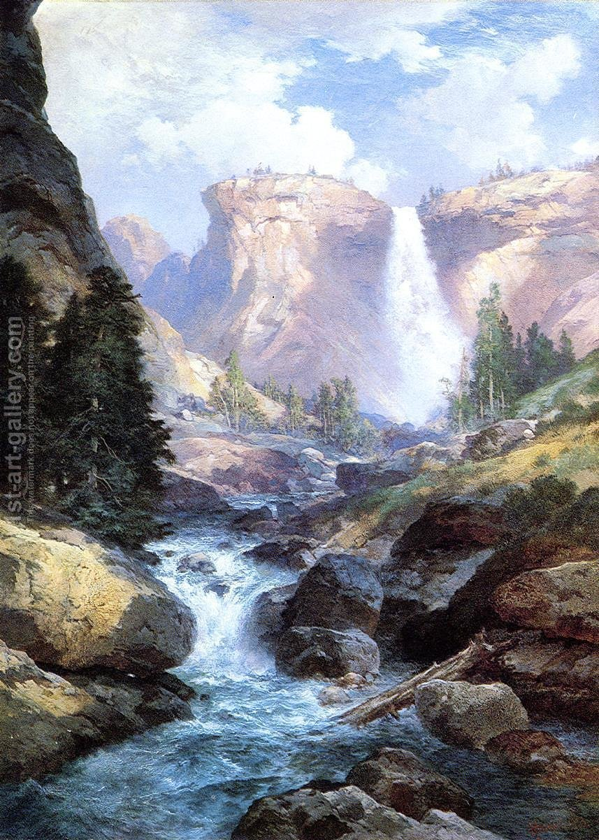 Waterfall In Yosemite Thomas Moran Reproduction 1st Art
