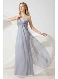 Silver Long Pregnant Bridesmaid Gown:1st-dress.com