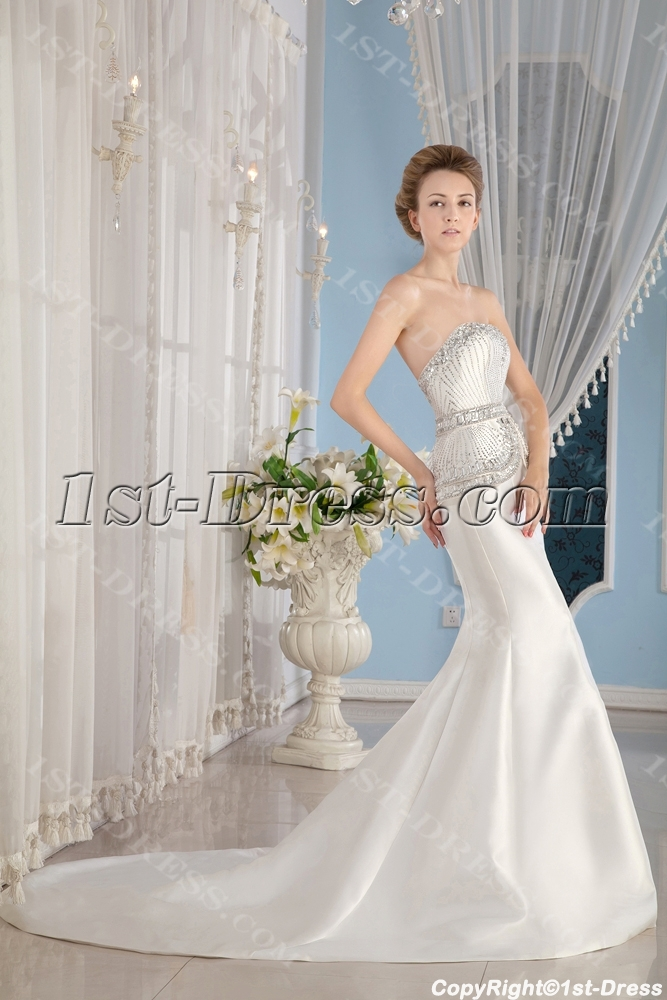 Jeweled Luxury Sheath Wedding Dress 2013 Fall1st Dresscom