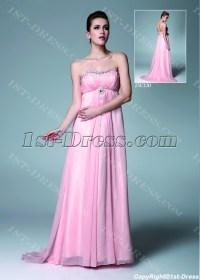 Pink Chiffon Pregnancy Prom Dresses for Wedding:1st-dress.com