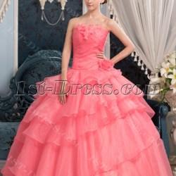 75a28e69926 Long Coral Pretty Quinceanera Dress With Floral 1St Dresscom