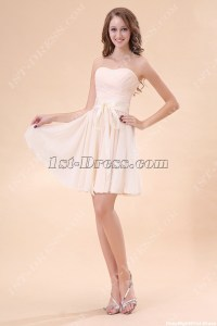 Champagne Strapless Sweetheart Junior Bridesmaid Gowns:1st ...