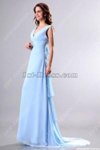 Light Blue V-neckline Formal Evening Gown with Train:1st ...