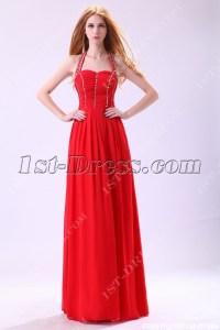 Red Halter Long Evening Dress for Petite Women:1st-dress.com