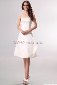 Strapless Simple Short Summer Wedding Dress:1st