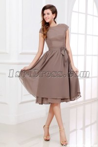 Brown Tea Length Short Mother of Groom Dress with Short ...