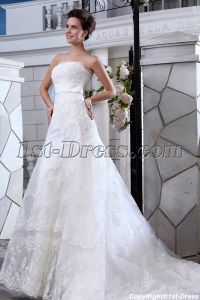 Charming Strapless A-line Lace Wedding Dresses Chicago:1st ...