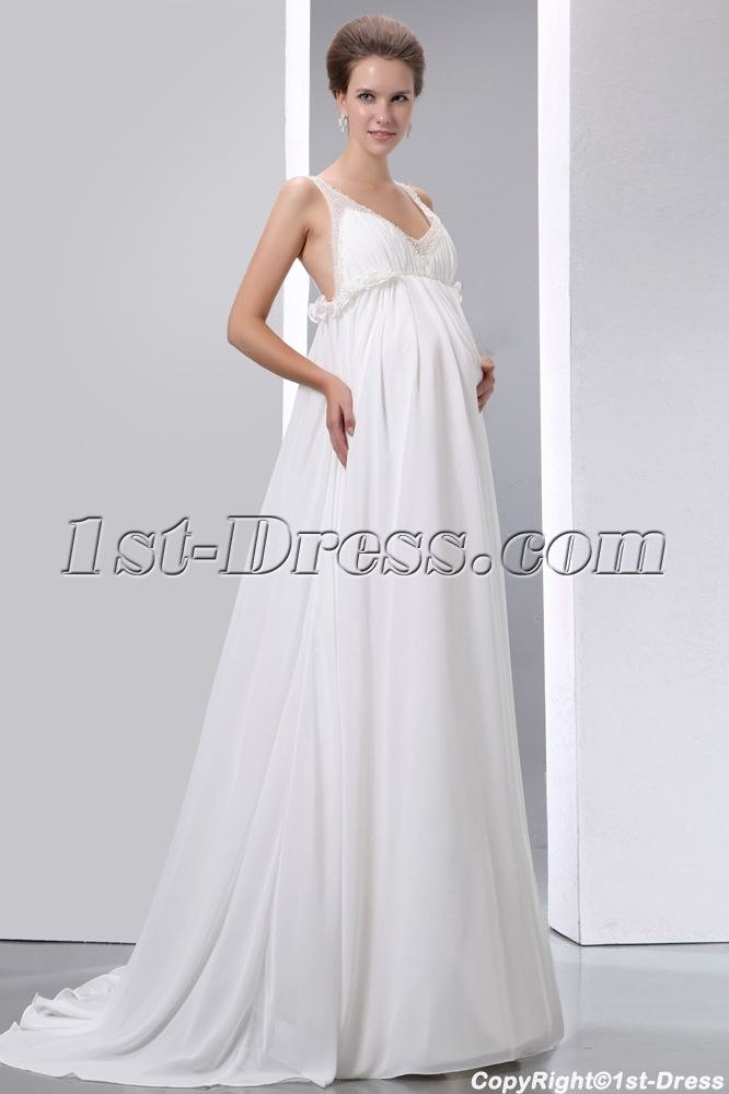 Flowing Chiffon Low Back Maternity Wedding Dresses with