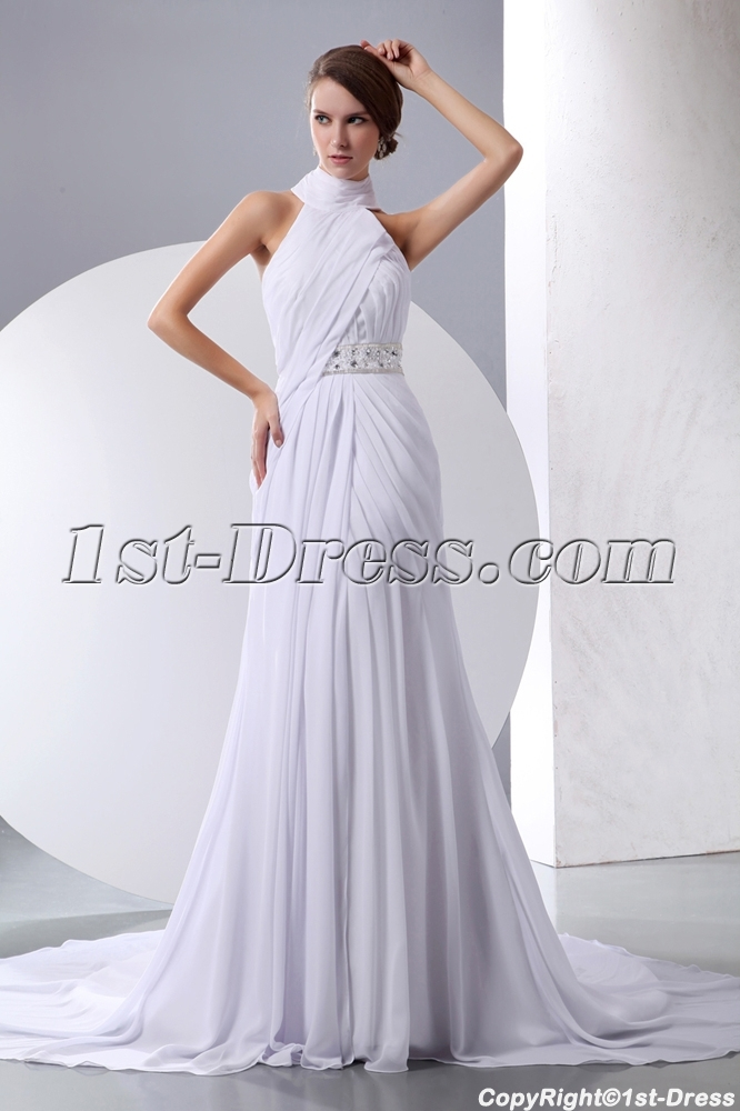 White Halter High Neckline Chiffon Beach Wedding Gown1stdresscom
