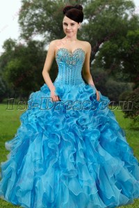 Elegant Blue Ruffles Quinceanera Dress 2016:1st