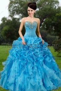 Elegant Blue Ruffles Quinceanera Dress 2016:1st